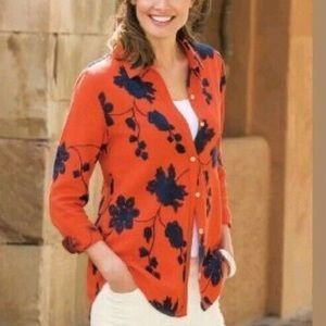 Soft surroundings pergola floral embroidery top
